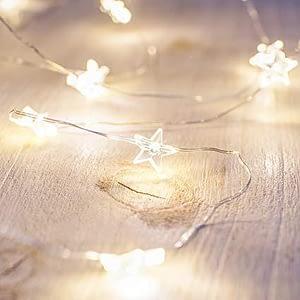 20 microLED bianco caldo con stelle trasparenti