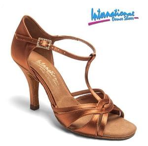 Mia T-Bar – Tan Satin –  International Dance Shoes
